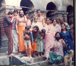The family assemble for Kali puja