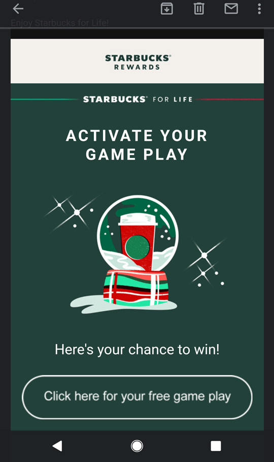 Starbucks email for free token