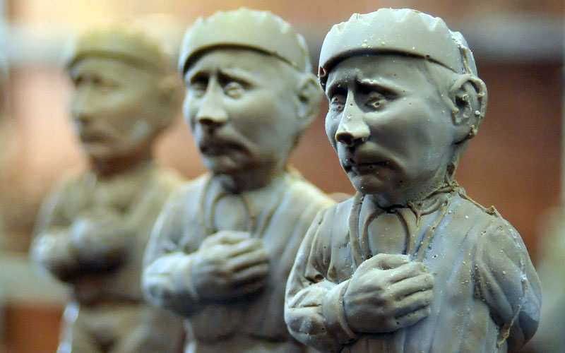 Chocolate statuettes of Russian President Vladimir Putin are on sale in one of confectioner's