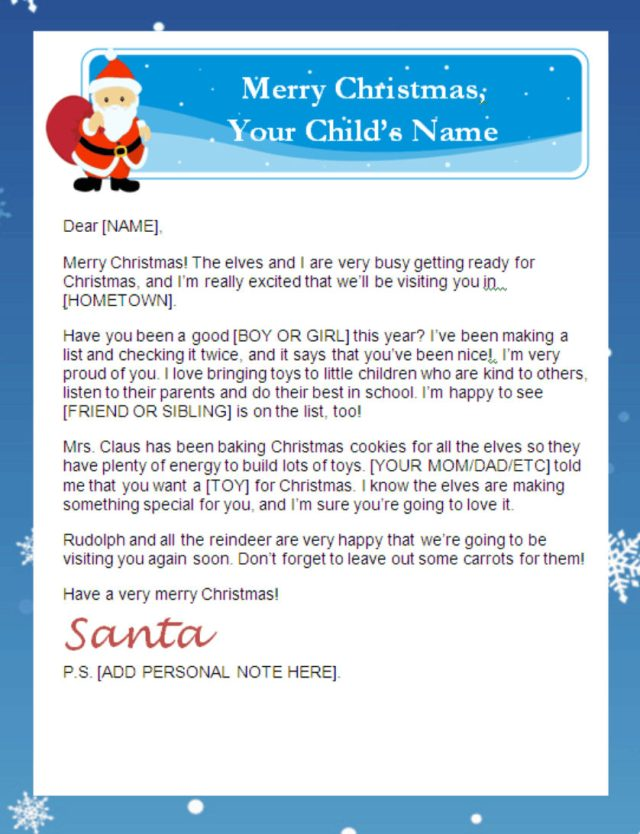 Santa Sample Letters – New Sibling Letter from Santa Claus