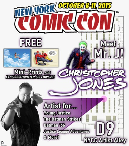 Map to find Christopher Jones at Artist Alley D9 at NYCC 2015