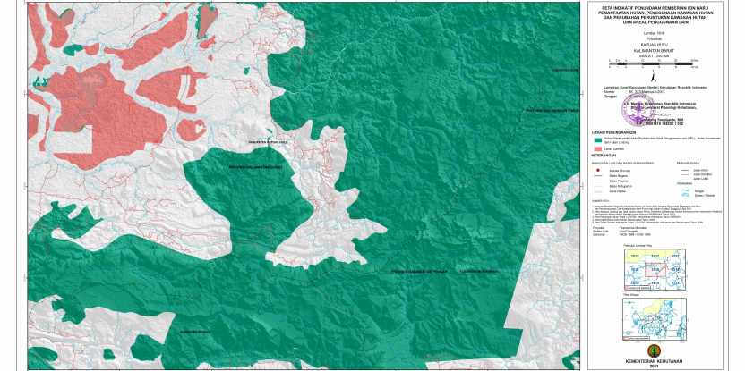 Part of the revised Moratorium Indicative Map for an area of Central and West Kalimantan. The green indicates production forests and areas for protection and conservation while the red shading indicates areas of peatland. Kindly reproduced with permission from Kementerian Kehutanan Republik Indonesia