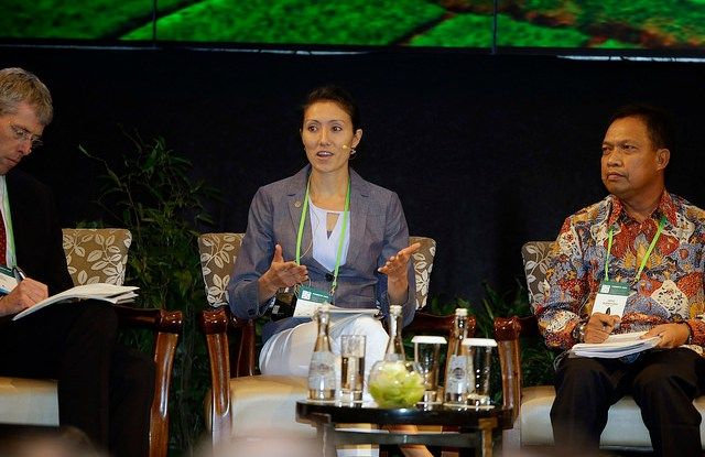 """Crystal Davis, Senior Manager, Global Forest Watch, World Resources Institute, speaking on a plenary discussion panel """"Collaborative approaches to resolving sustainability challenges"""" during the Forests Asia Summit 2014 in the Shangri-La Hotel in Jakarta, Indonesia.   Photo for Center for International Forestry Research (CIFOR)."""