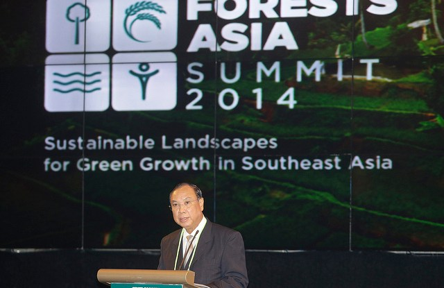 Myanmar's Union Minister of Environmental Conservation and Forestry U Win Tun delivers his speech during the Forests Asia Summit 2014 in the Shangri-La Hotel, Jakarta, Indonesia.