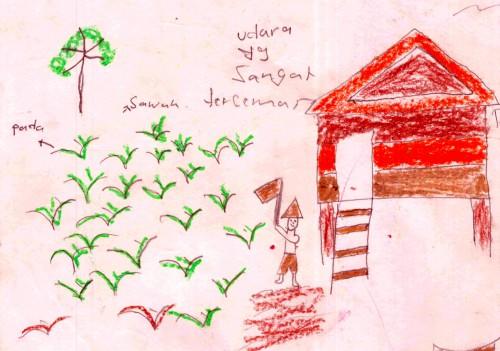 Dibujo de un niño en un estudio reciente llevado a cabo en Kalimantan, Indonesia. Véase aquí una colección de dibujos. Foto CIFOR.