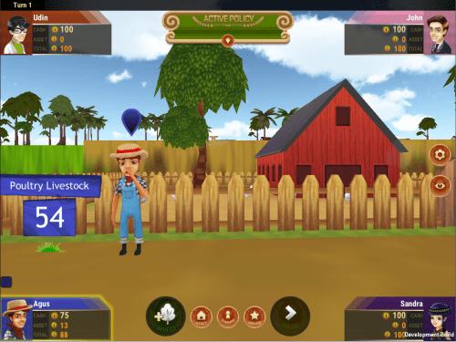 Dalam satu sesi permainan ini, pemain harus berinvestasi di peternakan. CIFOR foto