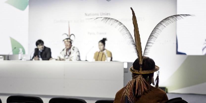 Konferensi pers Delegasi Masyarakat Adat di COP21, Paris.