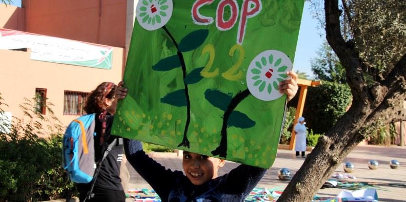 Marcha climática en Marrakech durante la COP22.
