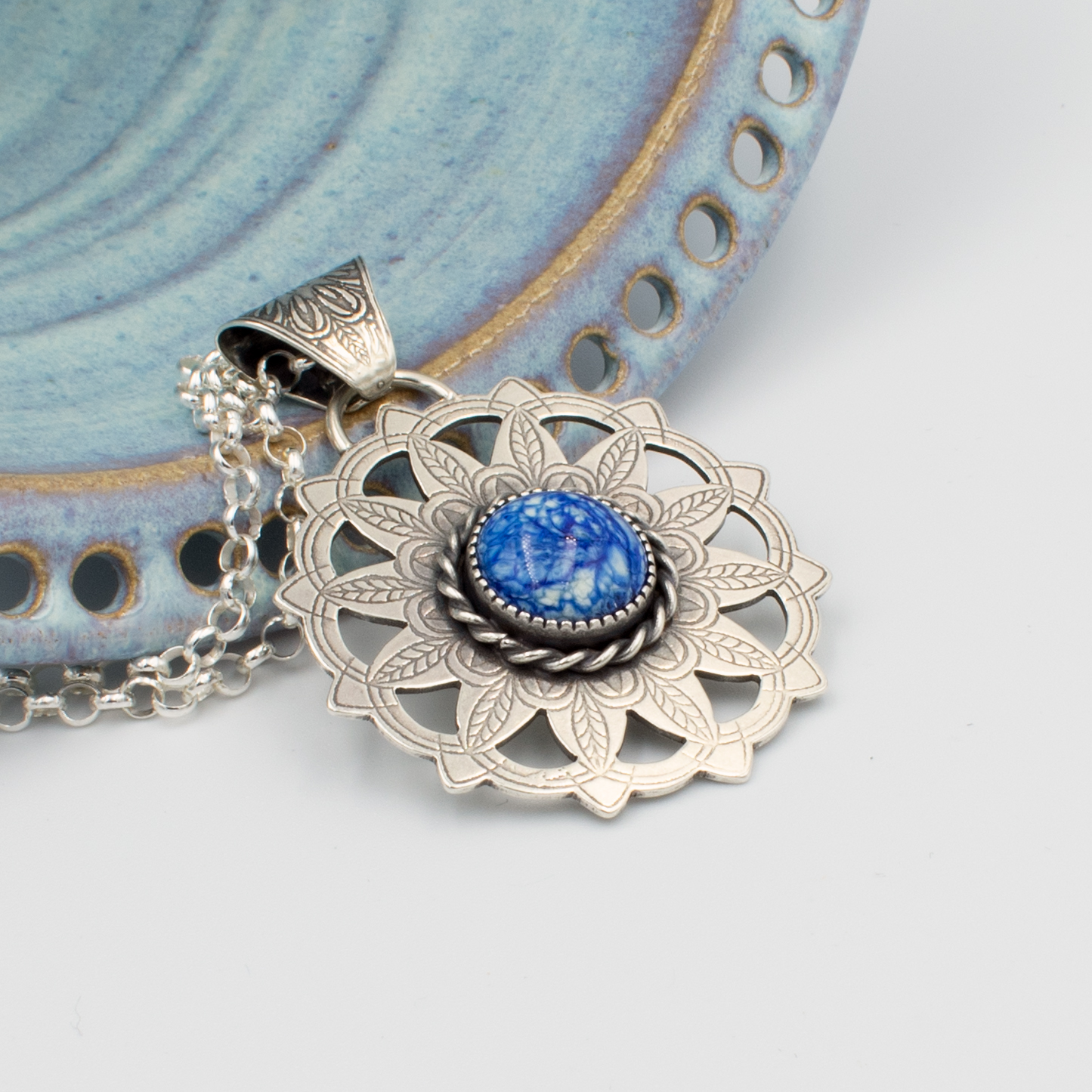 Dutch Delft Blue glass and silver necklace