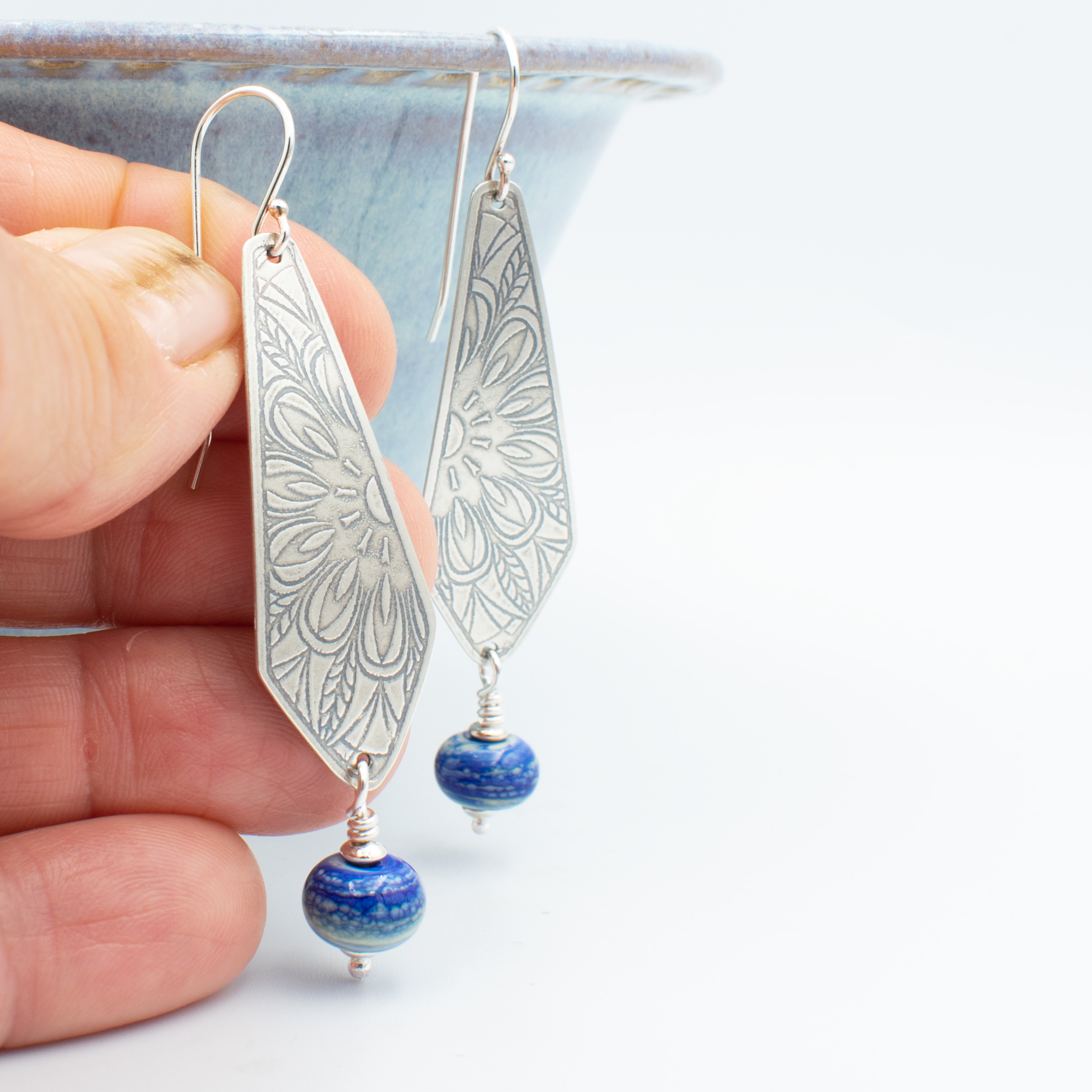 Dutche Delft Blue glass and silver earrings