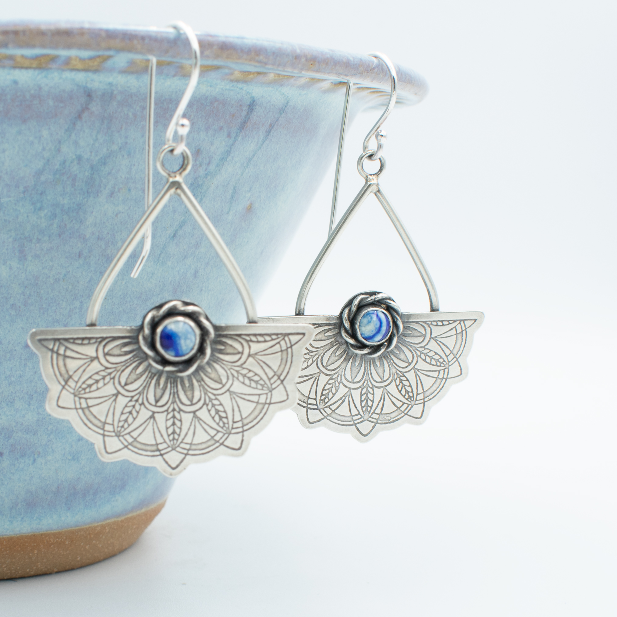 Dutch Delft Blue glass and silver earrings