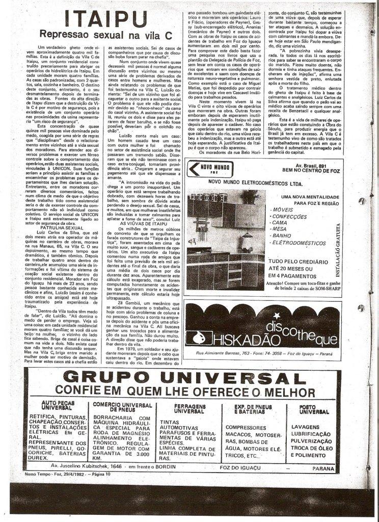 Imagem: Repordução de matéria originalmente publicada no Jornal Nosso Tempo.