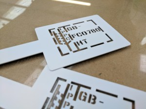 Lasered stencil for a client