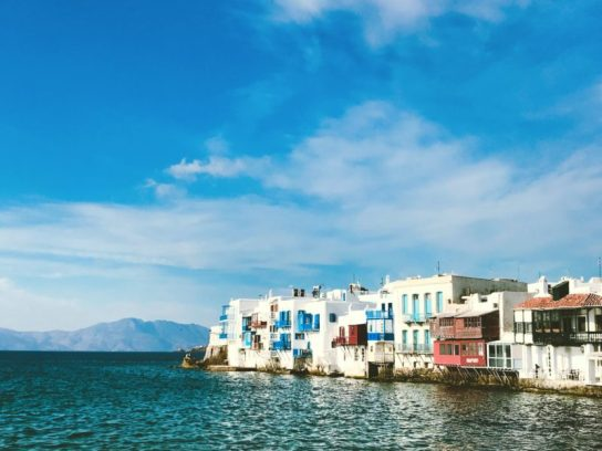 View from the sea of Mykonos