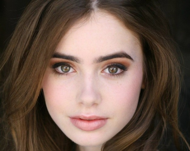 lily collins natural make up orange eyes