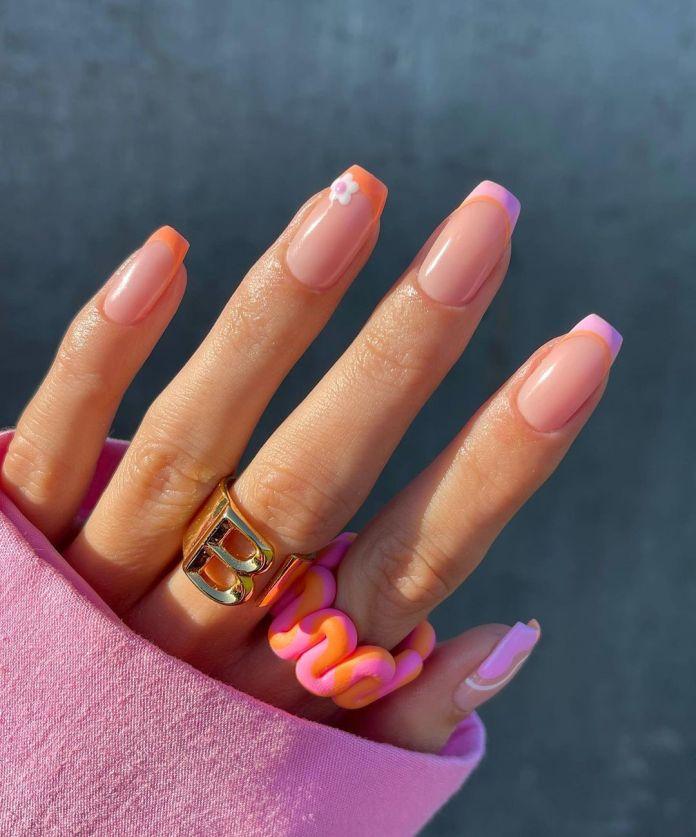 Cliomakeup-unghie-estive-semplici-2021-freanch-colorata-rosa-arancione