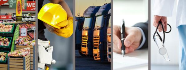 Foto de capa com 5 imagens representando setores de trabalho brasileiro. (mercado, construção, transporte, administrativo e saúde)