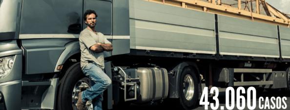 homem parado em frente a um caminhão, representando motoristas de caminhão. Número 43.060 casos