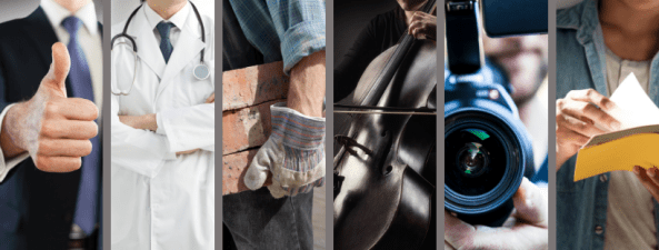 Foto de capa com 5 imagens representando profissionais que mais são afastados
