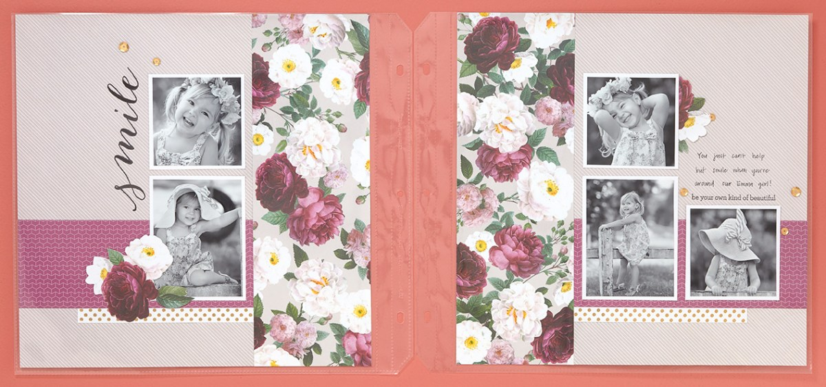2 Page Scrapbooking Layout #CTMH #CloseToMyHeart #flowerlayout #scrapbooking #scrapbook #girlscrapbook #flowerpaper #littlegirl