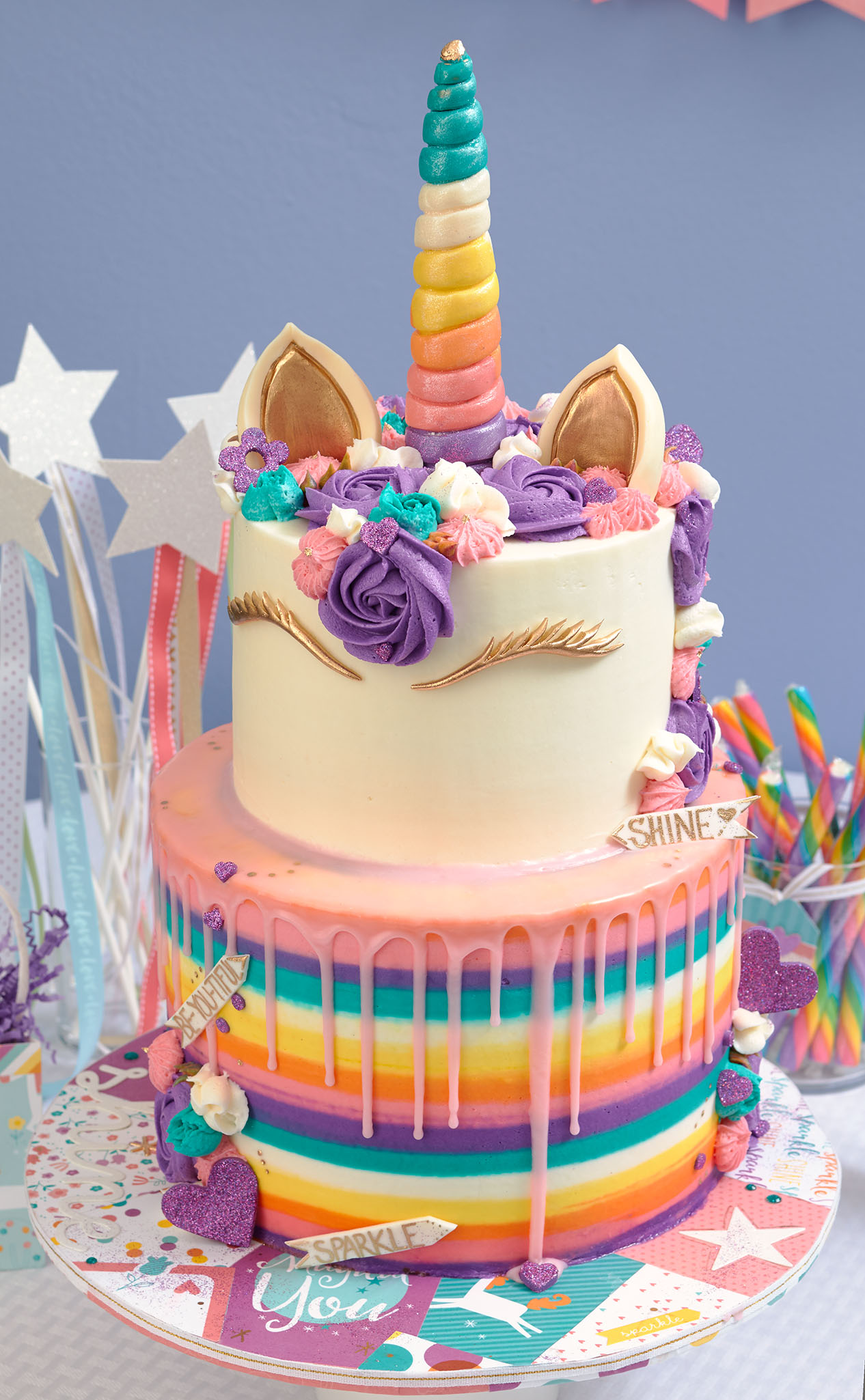 Awe Inspiring This Unicorn Party Takes The Cake Make It From Your Heart Birthday Cards Printable Inklcafe Filternl