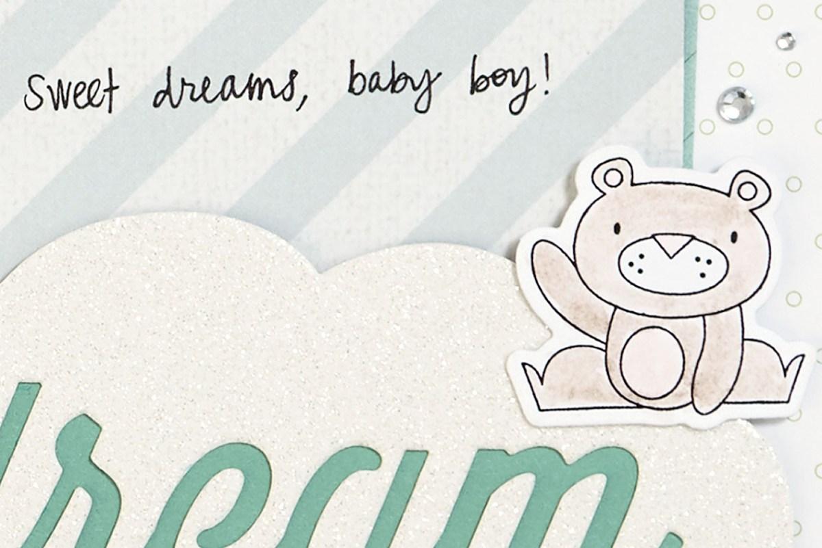 Punny Pals in Scrapbooking #ctmh #closetomyheart #scrapbooking #punnypals #thincuts #watercolor #watercolour #operationsmile #waving #bear #stamp #sweet #dreams #baby #boy