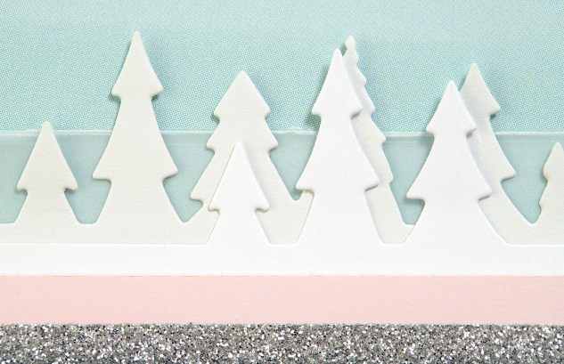 Pastel Christmas Trend #ctmh #closetomyheart #pastel #Christmas #trend #bashful #silver #glitter #pink #lightblue #juniper #December #card #cardmaking #thincuts #dies #treelineborder #tree #border #vellum
