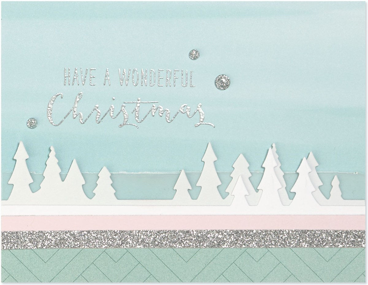 Pastel Christmas Trend #ctmh #closetomyheart #pastel #Christmas #trend #bashful #silver #glitter #pink #lightblue #juniper #December #wonderful #Christmas #card #cardmaking #thincuts #dies #diecuts #vellum #treeline #border #trees