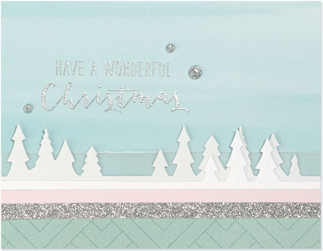 Pastel Christmas Trend #ctmh #closetomyheart #pastel #Christmas #trend #bashful #silver #glitter #pink #lightblue #juniper #December #wonderful #Christmas #card #cardmaking #thincuts #dies #diecuts #vellum #treeline #border #trees