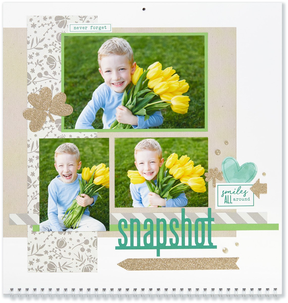 Through the Year #ctmh #closetomyheart #throughtheyear #calendar #kit #scrapbooking #scrapbook #memorykeeping #keepsake #gift #diy #family #Chrismas #present #photos #gold #glitter #diecut #gems #snapshot #tulips #shamrock #clover