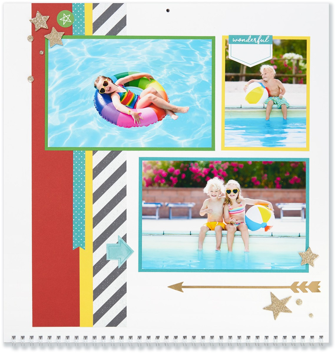 Through the Year #ctmh #closetomyheart #throughtheyear #calendar #kit #scrapbooking #scrapbook #memorykeeping #keepsake #gift #diy #family #Chrismas #present #photos #gold #glitter #diecut #gems #stars #arrow #summer