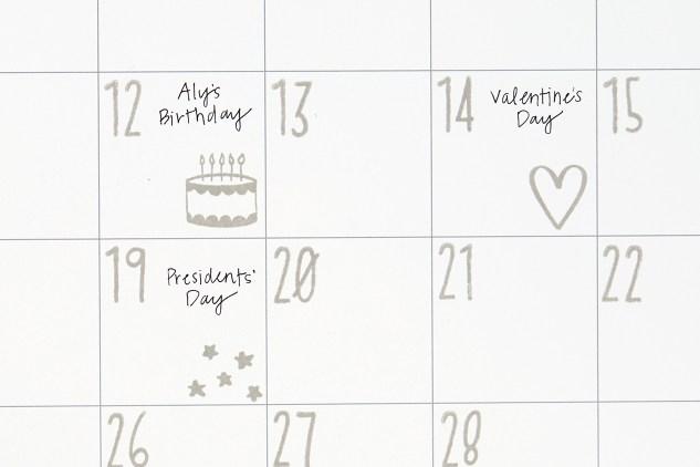 Through the Year Calendar Kit #ctmh #closetomyheart #throughtheyear #calendar #kit #stamp #numbers #dates #birthday #valentinesday #stars