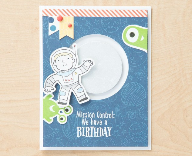 Making Interactive Cards #ctmh #closetomyheart #astroboy #astronaut #boy #space #stargazer #star #moon #aliens #diy #cards #interactive #moving #parts #birthday #mission #control