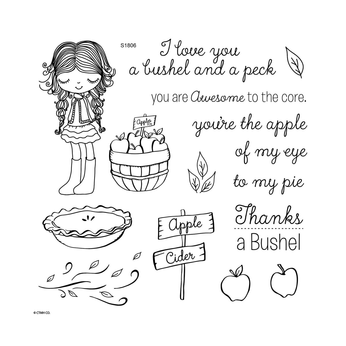 Fab Four Sign-up Special #ctmh #closetomyheart #stamp #month #sotm #bushel #peck #apples #girl #cider #pie #eye #core #harvest #awesome #fabfour #free