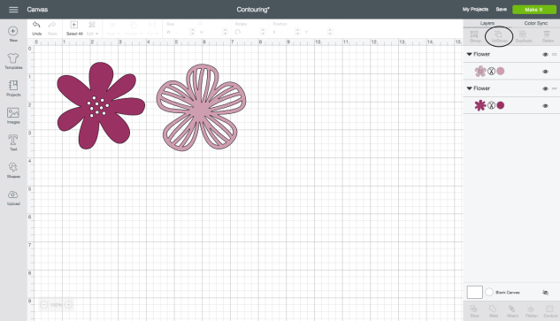 Contouring Shapes in Cricut Design Space™ #ctmh #closetomyheart #cricut #designspace #design #space #flower #leaves #floral #shapes #cutting #flowermarket #artistry #collection #diy #howto #tutorial #learn