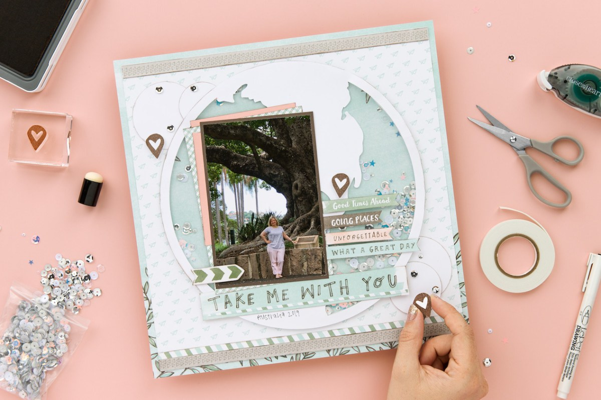 Shaker Window Scrapbook Page #ctmh #closetomyheart #ctmhnsm #nationalscrapbookingmonth #theworldisyours #shakerwindow #windowpage #scrapbooking #memorykeeping