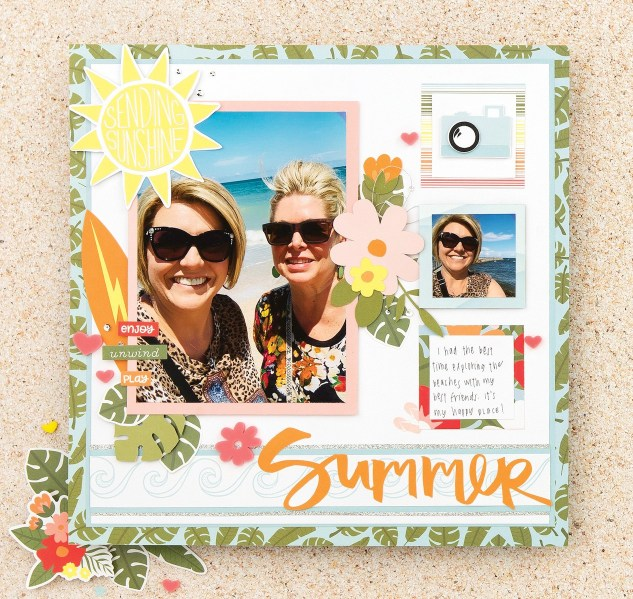 Cricut-shapes-summer-vibes-scrapbook-page