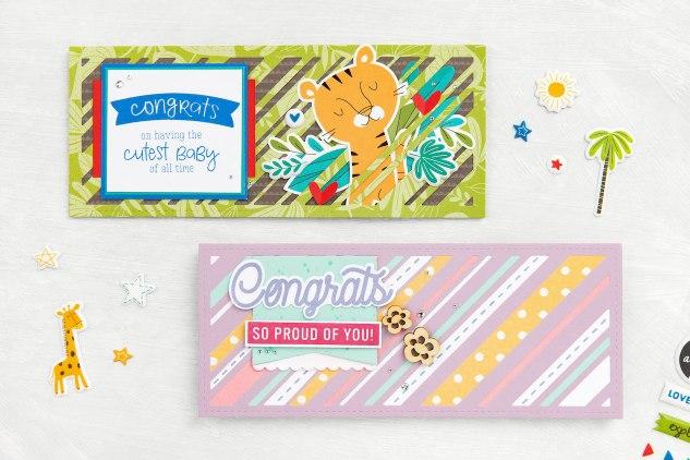 Slimline Cards #closetomyheart #ctmh #slimlinecards #thincuts #myacrylix #ctmhsweetsafari #hugscard #congratscard #pinkacrylichearts