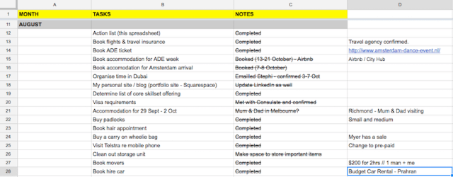 Create a spreadsheet to keep track of all tasks before you leave