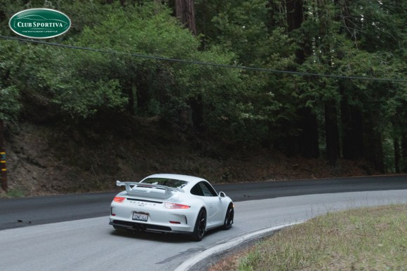Porsche GT3 with Sharkwerks exhaust in the mountains