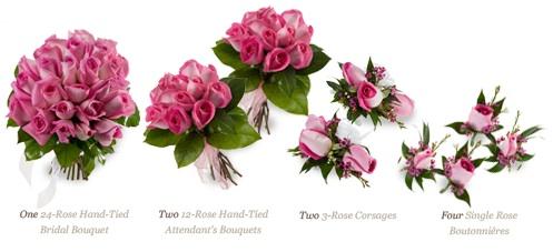 Nine-piece rose wedding package.