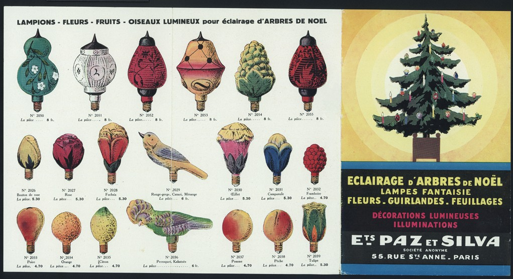 page from a french trade catalog of ets paz et silva paris france unknown date bib no 88844 glass christmas ornament trade catalog