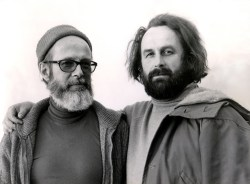Littleton and German studio glass pioneer, Erwin Eisch (courtesy Littleton family).