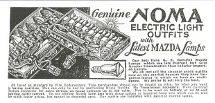 An early advertisement for NOMA string lights. (From pg. 140 of The golden glow of Christmas past, v. 15, no. 6, Dec. 1994)
