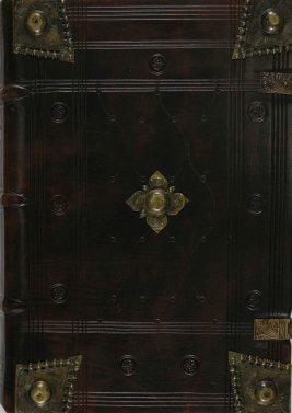 Preservation cover with original brass fittings for Bartholomeus Anglicus's De proprietatibus rerum.