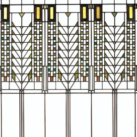 Tree of Life [Stained Glass Window from the Darwin D. Martin House, Buffalo, New York], Frank Lloyd Wright, 1904. H: 100.9 cm. (92.4.175, Clara S. Peck Endowment)