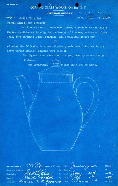 Tall Teapot Design Patent, Corning Glass Works, 1922 (CMGL 100113).
