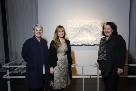 Rakow Commission artist Amber Cowan along with Karol Wight, executive director, and Tina Oldknow, senior curator of modern and contemporary glass