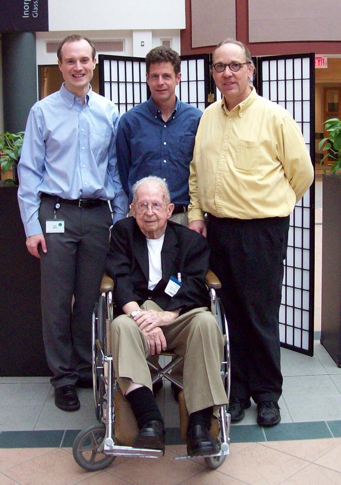 Dr. G. Jane Cook and fellow Stookey Award recipients John Maura and Scott Bickham meet Dr. Stookey.