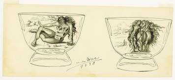 Drawing of Vase with Nude, Salvador Dali, Collection of the Rakow Research Library.